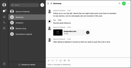 This month in Webex Teams You will find a magnifying glass icon in the top right corner of every space next to the call/meet button, and with one click, you can search through all the messages or content of the selected space. Talk about a time saver!
