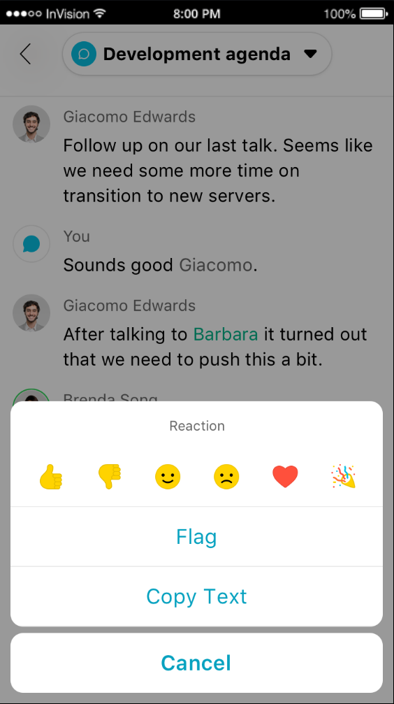On the go reactions and Webex Teams